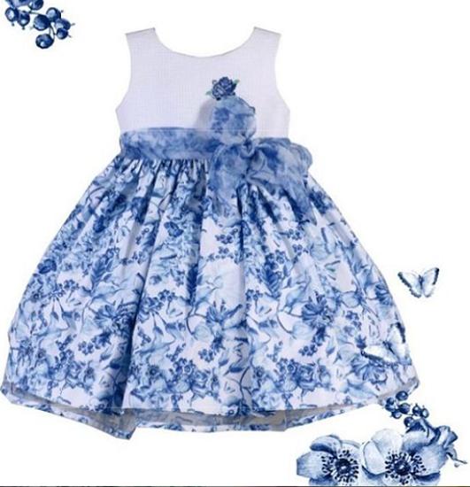 Imagem de Vestido Mio Bebê Floral Azul