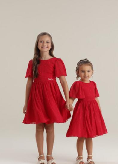 Imagem de Vestido Petit Cherie Vermelho com Estrelas em alto relevo